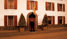 Abi in front of Enzo Ferrari's home in Fiorano
