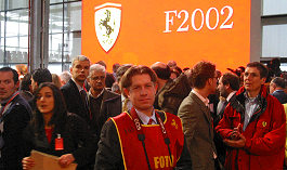 Abi at the Launch of the F2002 Formula 1 in Maranello